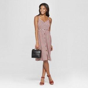 Striped Strappy Button Dress