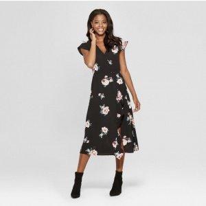 Flora Print Wrap Ruffle Dress
